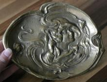 antique Art Nouveau style trinket dish with smoking lady