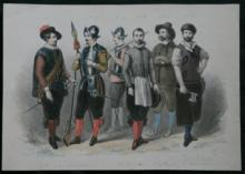 early 1800's hand colored etching or gravure of French soldiers