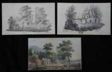 3 antique Dutch original drawings (1 hand colored) dated 1828
