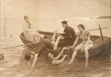 antique framed painted print Victorian men and woman swimming from a rowboat