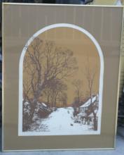 late Mid Century artist signed large framed artwork