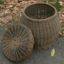 antique snake handler woven wicker lidded basket