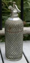 unusual vintage pewter mesh Czech selzer bottle
