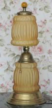 antique yellow satin glass boudoir lamp