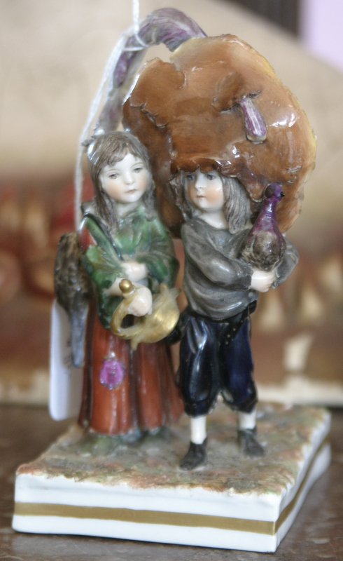 vintage Maurice Gottlob porcelain statue of Gypsy boy and girl