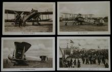 set lot of 4 antique early aviation postcards