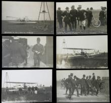 set lot of 6 rare 1909 REAL photo postcards of aviator Wilbur Wright in Italy