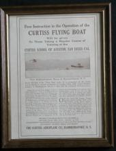 1912 Curtiss antique sheet paper ad for school of aviation