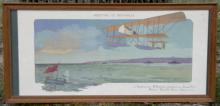 antique 1913 framed color lithograph biplane