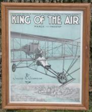 antique ca. 1910 framed sheetmusic biplane