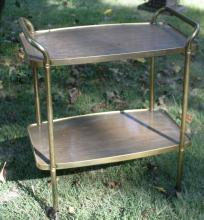 vintage brass and faux wood metal bar cart by Cosco