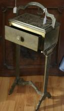 Art Deco period brass and iron humidor smoking stand