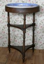 1800's walnut washstand with Copeland soap dish rim and bowl