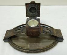 early 1900's Arts and Craft period bronze pen rest and inkwell