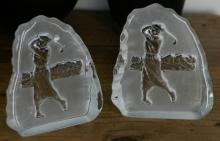 vintage pair of glass golf golfer plaques