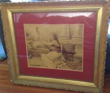 impressive huge framed antique photograph interior scene portrait