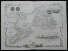 1851 Rapkin/Tallis illustrated map of Canada (Nova Scotia and Newfoundland)