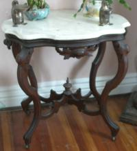 antique Victorian Era marble turtle top table