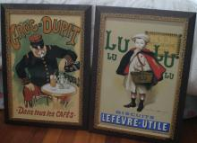 pair framed vintage French posters printed on glass