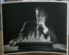 large vintage or antique original Art photograph of a chess player