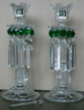 pair of tall antique Bohemian crystal candlesticks