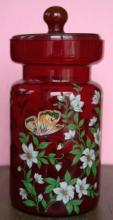 tall antique Bohemian ruby red glass jar