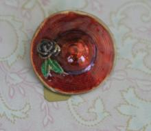 estate jewelry: vintage pin brooch shaped like red hat