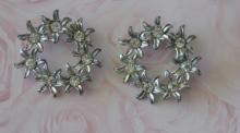 estate jewelry: pair of identical rhinestone pin brooches