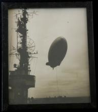 large original antique photograph of a Blimp