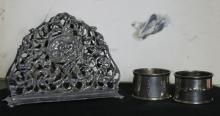 antique Dutch silver plated napkin holder plus 2 napkin rings