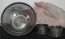 antique Dutch silver plated candy dish plus 2 napkin rings