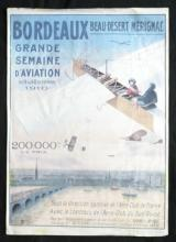 vintage repro poster of 1910 Bordeaux early aviation meet