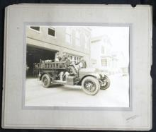 rare large 1920's cabinet photo fire brigade engine