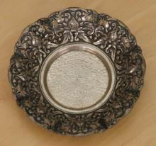 antique Indonesian repousse silver bowl with Lotus Flower design