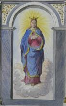 original ca. 1870's Dutch hand colored religious drawing Virgin Mary