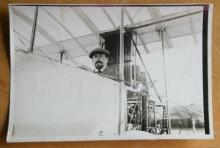 original ca. 1910 airplane aviation photograph of pilot in biplane