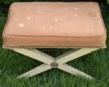 vintage Mid Century Modern or Hollywood Regency x-frame bench
