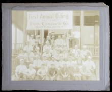 ca. 1910 cabinet photo of billboard advertising company outing