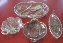 set lot of 4 antique glass serving dishes