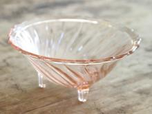 antique Depression glass footed dish