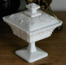 footed white milk glass lidded dish