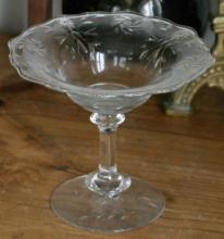 antique Depression Era footed glass compote