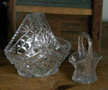 small and medium cut crystal dishes