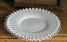 clear and milk glass plate, probably Fenton Silvercrest