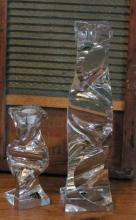 pair of unusually shaped vintage crystal candlesticks