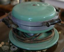 vintage green blue Art Deco period waffle iron