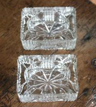 pair of antique cut glass ashtrays