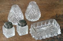 set or lot of antique cut glass items
