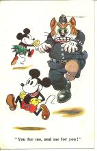 rare Mickey and Minnie Mouse color Walt Disney postcard
