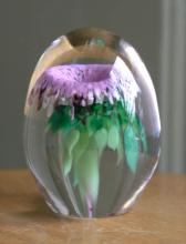 vintage handmade glass paperweight by Shafstall
